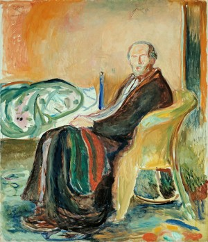 에드바르 뭉크, 스페인 독감을 앓을 당시의 자화상 (1919)